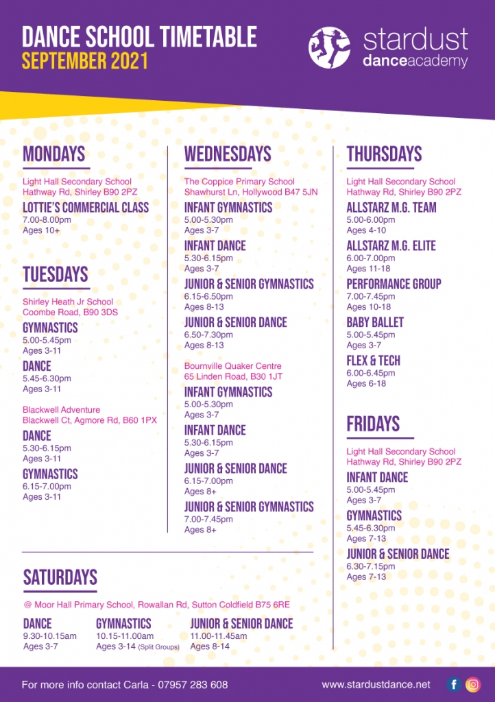 Timetable Sep 21